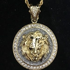 Other - BIG LION DIAMONDS cz 18K GOLD CHAIN MADE IN ITALY!